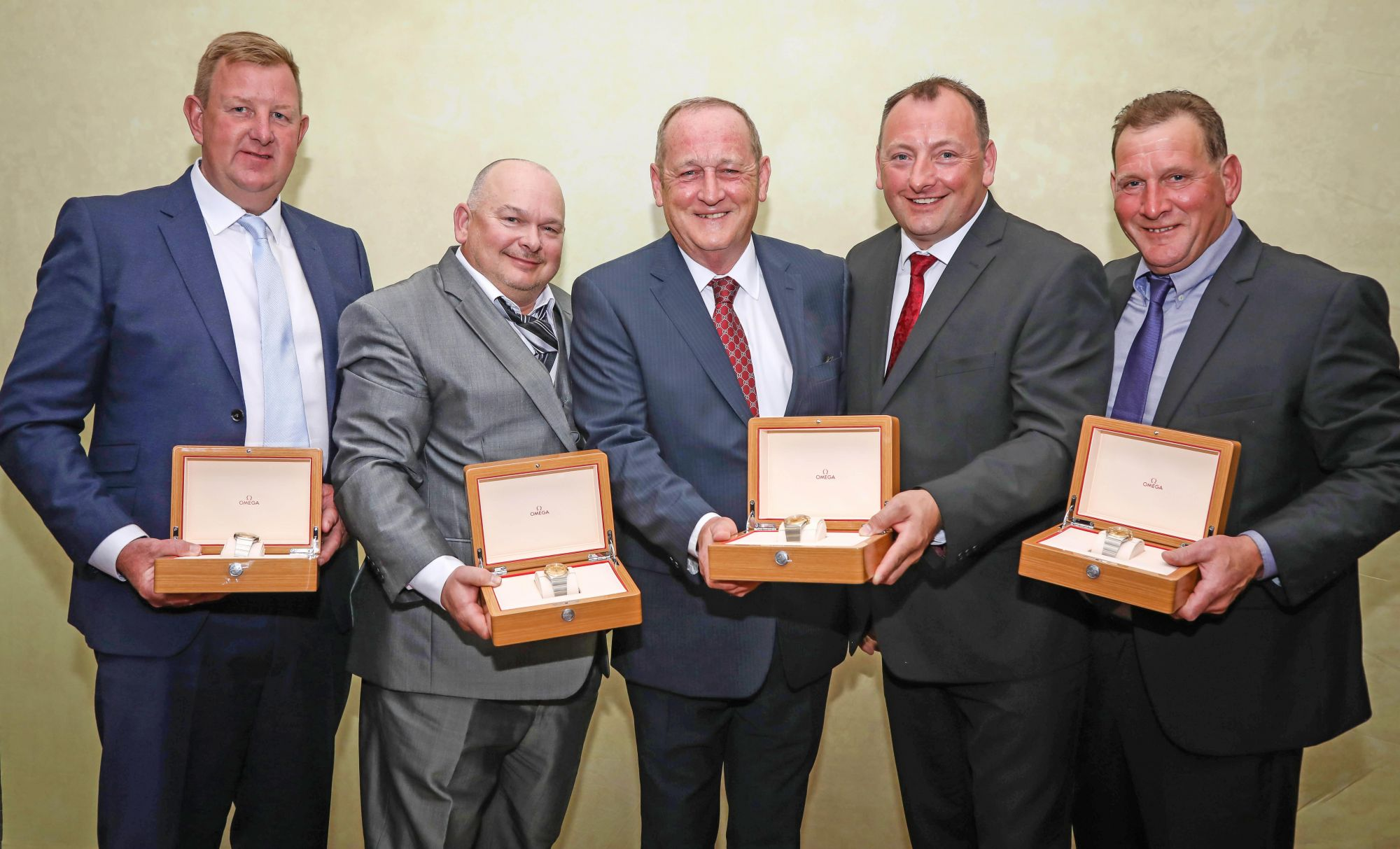 Patrick Trant, Chairman of multi-disciplinary contractor Trant Engineering, centre, with recipients of 25-year service awards. From left, Darren Bishop, Pete Boyt, Patrick, Darren Milam and Tom Lee. They bring the total number of staff with similar awards to 136 at award-winning Trant Engineering.