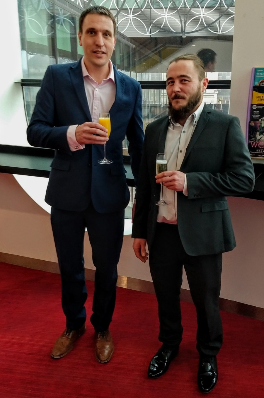 Damian Nunn of Trant Engineering, right, with James Henderson, Director of Process and Water at the multi-disciplinary contractor. They are pictured at the Library of Birmingham, where Damian was named Outstanding Apprentice of the year in the annual National Construction College awards.