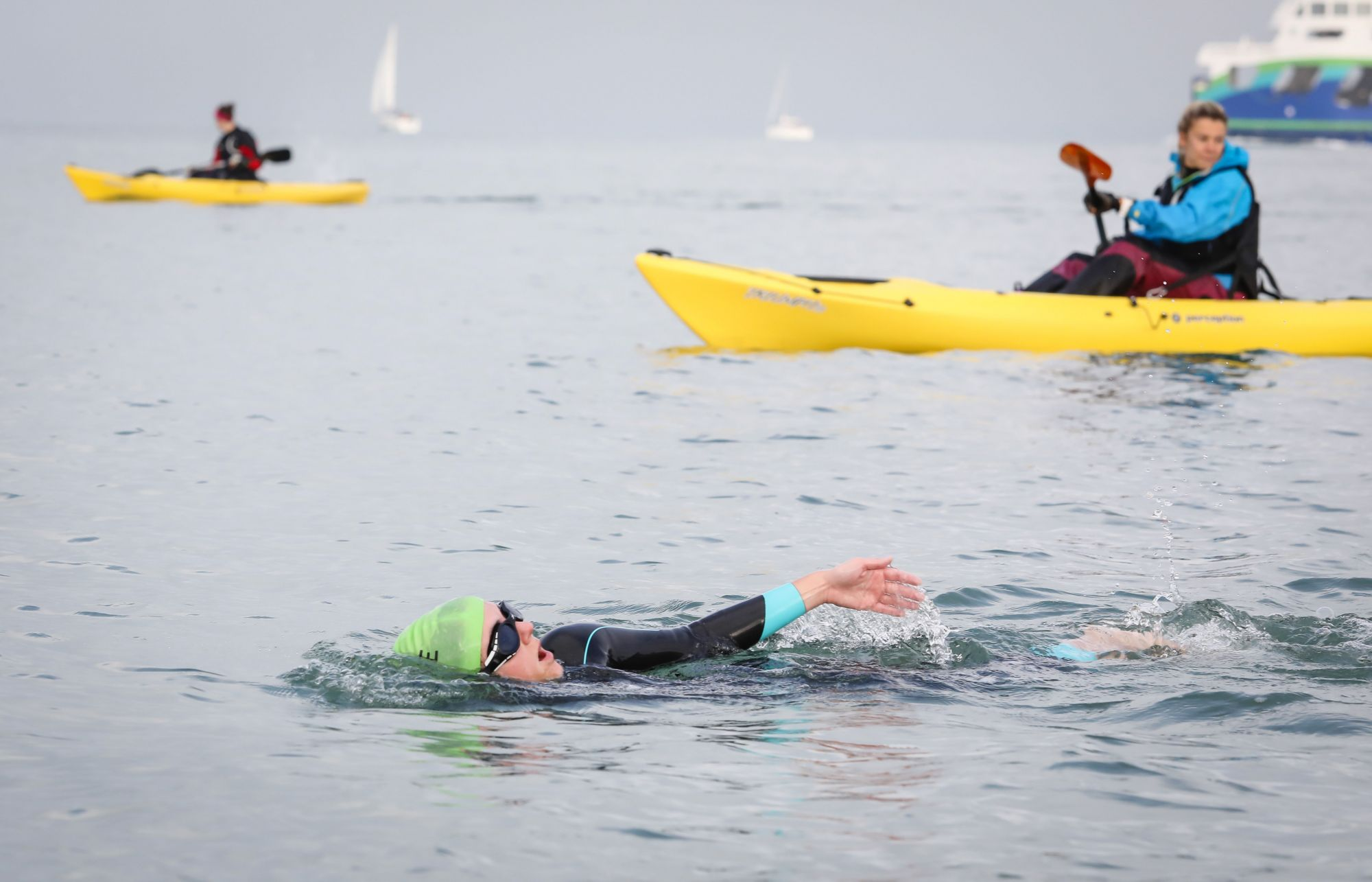 SWIM-IT TO RYDE: Jess Howe, one of the Trant Engineering participants, in action in the three-mile crossing from Gosport to Ryde, Isle of Wight